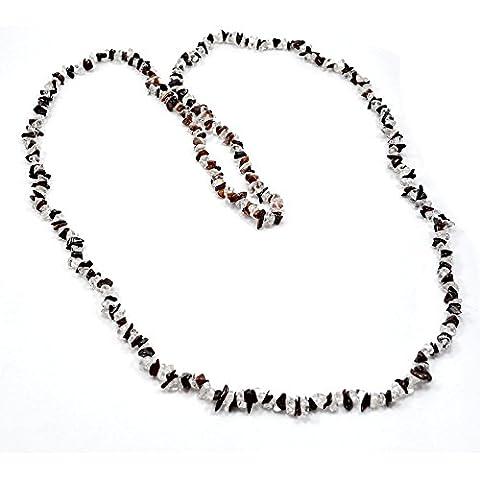 silvesto India diaspro rosso con cristallo bianco corda Chip Collana per le donne PG 9209