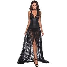 DOGZI Lencería Mujer Tallas Grandes Cuero Artificial Vestido Largo Ropa  Interior Bodysuit Cordón Lencería Escotado por 8c6e2661c264