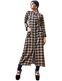 Rose Petals Fully Stitched Indo Western Reyon Check Kurti in Different Designer Cuts and Style with unique neck detailing (CHEp5001), check dress for women western, checks kurtis for women latest