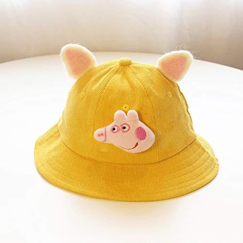 ChildHat 2018 Hut für Kinder,Baby Mütze weiche Schwester wenig gelben Hut frisch Baby Hut Ohren Eltern-Kind-Hut DIY Cord Kinder, Schwein-Gelb, Plus Kaschmir S Kinder 2-7 (53CM)