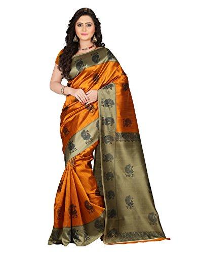 e-VASTRAM Womens Art Mysore Printed Silk(NS1A_yellow)