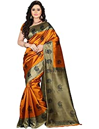e-VASTRAM Women's Art Mysore Printed Silk Saree, Free Size (Yellow, Ns1A)