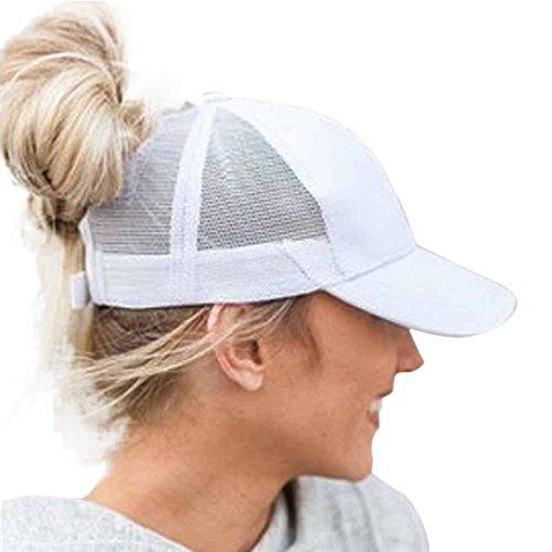Dasongff Mode Pferdeschwanz Kappe Einstellbare Baseballmütze Coole Mütze Hip-Hop Mesh Cap Sonnenhut Strandhut Freizeithut (Weiß) -