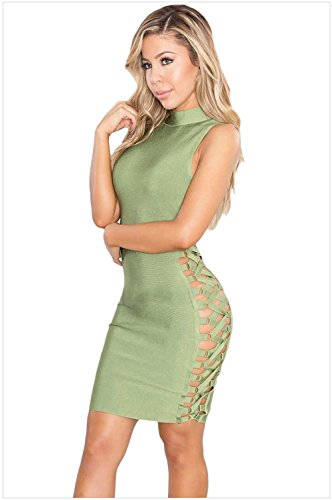 meinice Verde Lace Up Contour Bandage Dress Green