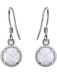TENYE Women's 925 Sterling Silver Crystal Art Deco Teardrop Hook Earrings Adorned With Natural Chalcedony
