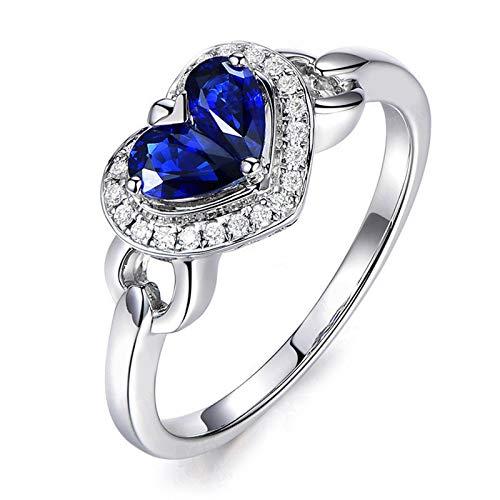 Daesar Anillo Compromiso Corazon Anillo Corazon Azul Anillos Plata de Ley Anillo Cristal Azul Anillos de Mujer Alianzas Anillo Talla 18,5