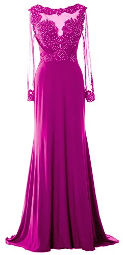 MACloth Women Long Sleeve Beaded Lace Mother of Brides Dress Formal Evening Gown Fuchsia