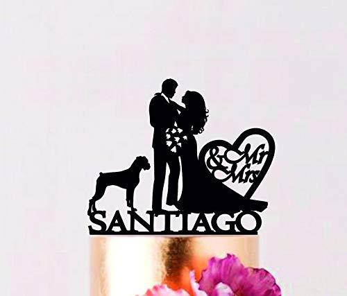 Tortenaufsatz für Paare mit Nachnamen, Tortenaufsatz Mr Mrs mit Hund, Braut und Bräutigam mit Boxer Hund personalisierbar -