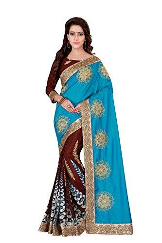 Flaunt365 Jari Thread Embroidery Satin Silk Sari in Blue