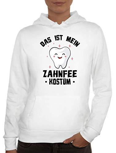 ShirtStreet lustige Karneval Gruppen Paar Verkleidung Damen Hoodie Frauen Kapuzenpullover Fasching - Das ist Mein Zahnfee Kostüm, Größe: L,Weiß