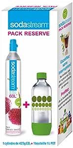 Sodastream 3011081 Cylindre CO2 Supplémentaire + 1 Bouteille Bulles de Couleur PET 1 L