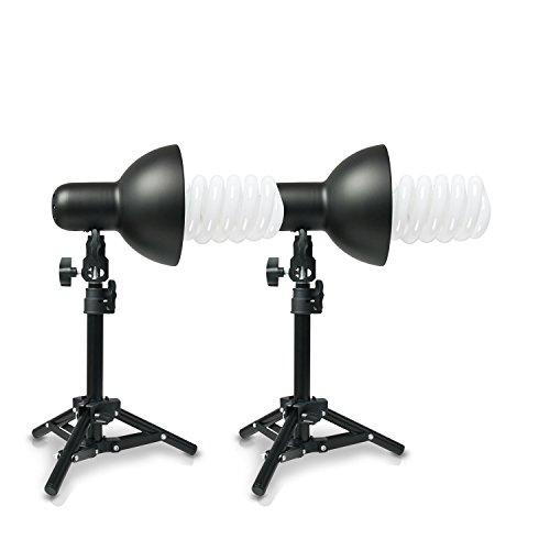 PICARD 400 Watt Foto-Lampe 2x Foto-ESL + 2x Tisch-Foto-Stativ | Foto-Licht / Foto-Beleuchtung inklusive 2x Schnellstart-Tageslichtlampe (5500 K) mit 400 Watt Äquivalenzleistung und 2x Tisch-Foto-Stativ ()