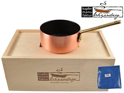 Kupfermanufaktur Weyersberg Kupfer Pfanne Butterpfännchen Keramik Induktion 10 cm ohne/mit Gravur + Prymo Mikrofasertuch Farbe 1) OHNE Gravur, Größe induktionsfähig