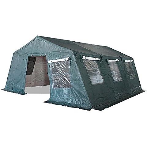 INTEROUGE PRO - Carpa Pabellón Tienda 5x6.24m para Jardín Camping Fiesta Terraza Acampada (De Aluminio y PVC Grueso Impermeable,Doble Aislamiento para Anti-Frío,Anti-Calor),Color Verde