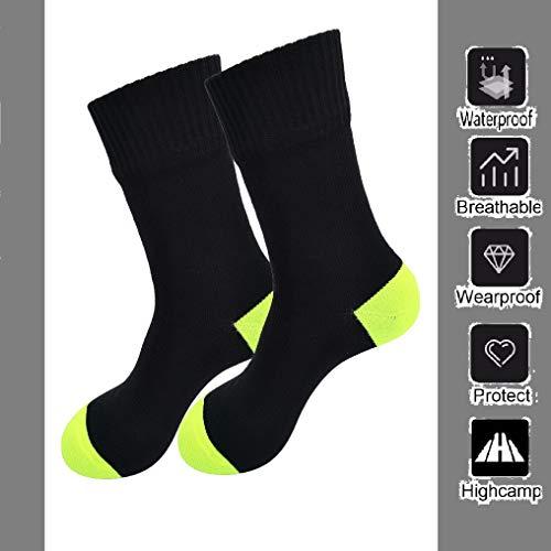 Highcamp Wasserdichte Socken für Herren & Damen Coolmax Kissen Crew Radfahren, Laufen, Wandern Stiefel Socken, Damen, Neongelb, Medium (Radfahren Stiefel)