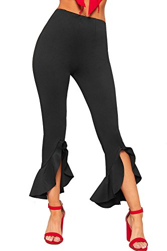 WearAll Women's Womens Asymmetric Frill Ankle High Waisted Skinny Leg Trousers New Ladies Pants 8-14