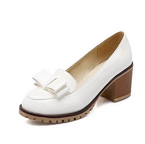 AllhqFashion Femme Rond à Talon Correct Verni Couleur Unie Tire Chaussures Légeres Blanc