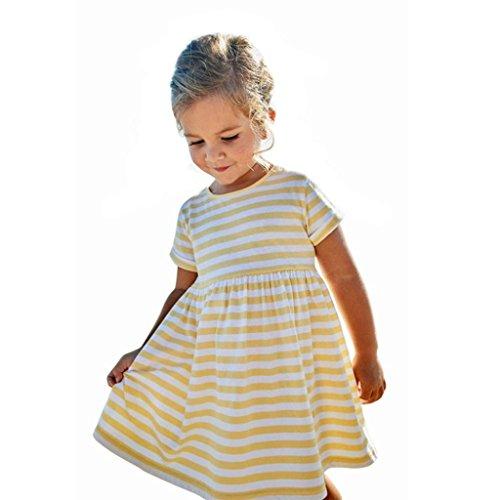 Kleid Kurzarm Mädchen Huihong Sommer Kleinkind Kinder Baby Gestreift Kleider T Shirt Kleid Outfit Kleidung (Gelb, 3T-110) -