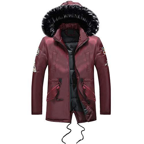 Luckycat Männer Winter Langarm Tasche Pelzkragen Mit Kapuze Outwear Jacke Mantel Plus Größe Winterjacke Steppjacke Daunenjacke Parka Mäntel Jacken