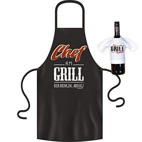 Chef am Grill! Witzige Geschenkidee! Schürze ink. Gratis Mini-T-Shirt! BBQ Kochschürze Barbecue Food ()