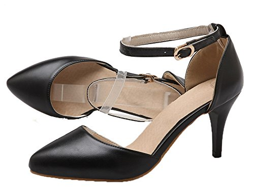 VogueZone009 Femme à Talon Haut PU Cuir Couleur Unie Boucle Pointu Chaussures Légeres Noir