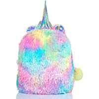 Fluffy Unicorn Backpack, Mumoo Bear Cute Plush Unicorn Backpack,Fluffy Mini Unicorn Backpack Bags for Girls Kids Travel Plush Rainbow Schoolbag