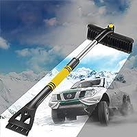 Duanin - Pala de Nieve para Coche, 3 en 1, para descongelar el Coche, para Exteriores, Longitud Ajustable, Herramientas de Limpieza de Nieve, Hombre, Amarillo
