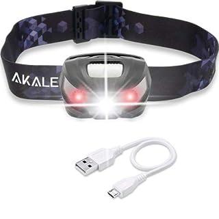 LED Stirnlampe, Akale USB Wiederaufladbare LED Kopflampe, 5 Lichtmodi, 150LM, wasserdicht, 1200mAH Batterien, Perfekt fürs Camping, Outdoor und Sport, inklusive USB Kabel