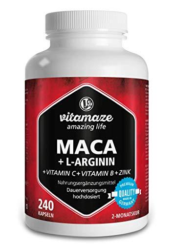 Maca Kapseln hochdosiert 4000 mg + L-Arginin 1800 mg + Vitamine + Zink, 240 Kapseln für 2 Monate, Qualitätsprodukt-Made-in-Germany