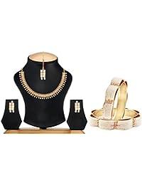 Zeneme Pearl Copper Fashion Necklace Set & Bangles Set Jewellery For Women & Girls