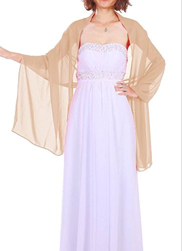 Dressystar Chiffon Stola Schal für Kleider in verschiedenen Farben Champagner 200cm*50cm