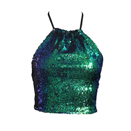 Clubwear Tube Top (Yying Mode Frauen Damen Halter Pailletten Backless Weste Crop Tops Tank Tube Tops Clubwear Grün S)