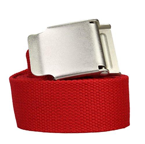 Ceinture Tissu extra solide en rouge - Boucle déployante - 135cm longueur totale = 120cm Tour de taille