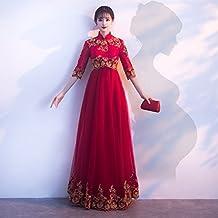 3a7d05694ab6 JKJHAH Abito da Sposa Donna Incinta Allentata Abito da Sera Cinese Rosso