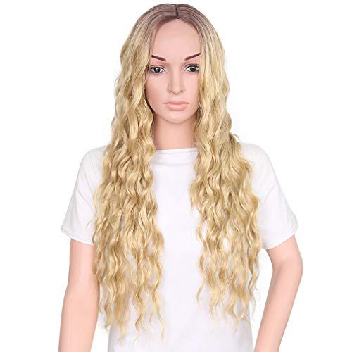 ZHEDAN Perücke Ombre Blonde Qualität Frauen Licht Blonde Mode Natürliche Volle Locken Perücke Frauen Cosplay Party Ripple Hair ()