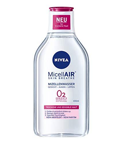 NIVEA MicellAIR Skin Breathe Mizellenwasser für trockene Haut im 4er Pack (4 x 400 ml), All-in-1 Make-up Entferner für erhöhte Sauerstoffaufnahme, Mizellen Reinigungswasser für 0 {0aa256db5b2c0c9162778b1ef2025cd772758f54108f69169ada1db5dff2e270} Produktrückstände