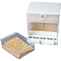 Alimentador automático de loro, Comedero de pájaros sin preocupaciones, Contenedor de alimentos para periquito Canario Cockatiel Finch