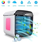 Mobile Air Conditioning Small, Hisome 4 in 1 Air Conditioning Device Fan Humidifier Air Purifier Aromatherapy USB Mini Personal Air Cooler 3 Speeds 7 Colours LED For Home Office Outdoor