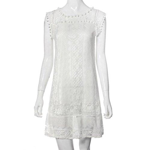 ZEELIY Sommer Damen beiläufige Spitze ärmelloses Strand kurzes Kleid Quaste Minikleid