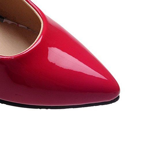 AgooLar Damen Ziehen Auf Lackleder Spitz Zehe Stiletto Pumps Schuhe Rot