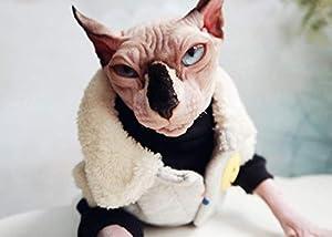 HCYD Manteau d'agneau épaissi, vêtements de Chat Sphinx, Hiver Chaud