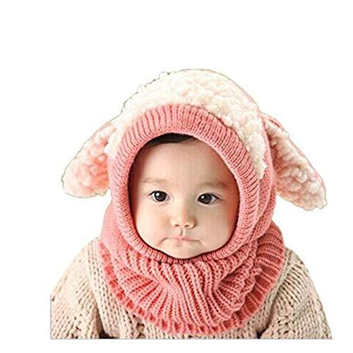 SUCES Baby Mütze Schal Jungen Strickmütze Mädchen Hüte Süß Mützen Halstücher Winter Kinder Warm Fleece Schalmütze (Rosa,one size) -