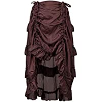 Juleya Faldas de Algodón Vintage de Estilo Gótico Steampunk Falda Hippie Falda con Volantes Asimétrica