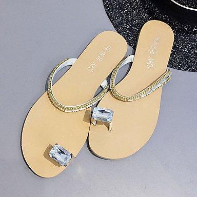 zhENfu Donna sandali di gomma Comfort estate passeggiate all'aperto Comfort Strass tacco piatto marrone nero Beige sotto 1in Beige