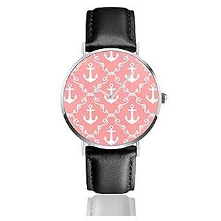 Armbanduhr Quarzuhr Ancor Damast Koralle Casual Uhren für Herren Damen Damen mit schwarzem Leder