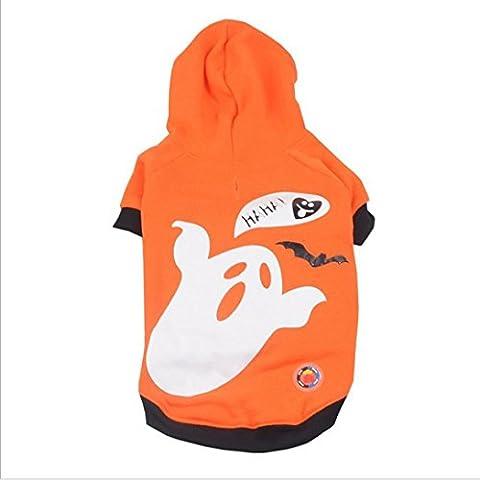 para el animal doméstico de Halloween ropa LED,RETUROM lindo perrito del animal doméstico Sacudir ropa ligera fantasma de la calabaza ropa LED (S)