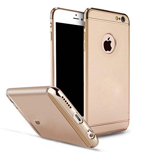 YESDA Cover,Placcatura PC Opaco Ultrasottile Antiscivolo Protettiva Rigida Cassa Bumper Shock-Absorption e Anti-Scratch 3 in 1 Case Per iPhone (iPhone 6/6S, nero) Oro