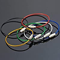 Lovelysunshiny Cable de Acero Inoxidable PVC Cuerdas de Alambre Llavero Mosquetón Llave Colgante Cable