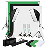PHOTO MASTER 2X 125W Fotostudio Fotografie Studio Profi Komplettes 5500K Dauerlicht Leuchte inkl.2 Fotolampe + 2 Softbox Set Hintergrund System Stativ Hintergrundstoff (Weiß Schwarz Grün) Tragtasche