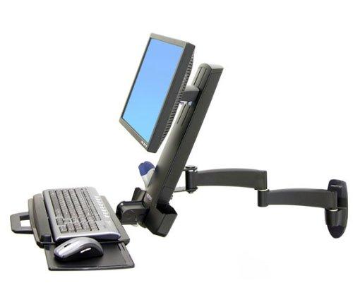 ERGOTRON Combo Arm der Serie 200 schwarz fuer LCD bis 61cm 24 Zoll Tastatur Maus Handballenauflage und Barcode Lesegeraet